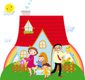 Family in front of their house Royalty Free Stock Photography