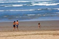 Family fun. Cannon beach in summer, Oregon coast Royalty Free Stock Image