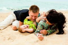 Family fun. Family having fun at the beach in summer Stock Photo