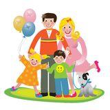 Family fun. Happy fun family vector illustration isolated over white background Royalty Free Stock Images