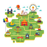 Family fun amusement park vector map. Entertainment in vacation vector background. Illustration of festival fair entertainment and amusement park vector illustration