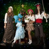 Family fun in carnival costumes Stock Image