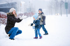 Family Fun Outdoors At Winter Stock Photos