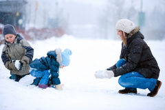 Family fun outdoors at winter Royalty Free Stock Images