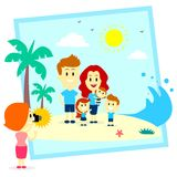 Family Fun Photo Shoot At The  Beach. A Photographer Girl Taking Photos of A Happy Family at The Beach (in Flat Cartoon Style Stock Photos