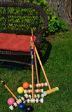 Family Fun Playing Croquet. Croquet mallets and balls after some fun family time Stock Photography