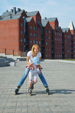 Family fun rollerblades Royalty Free Stock Photo