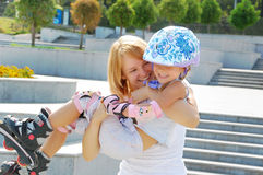 Family fun rollerblading Royalty Free Stock Image