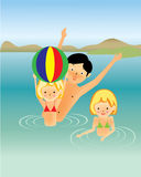 Family fun in the sea, cartoon Stock Images