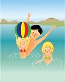 Family fun in the sea, cartoon. Children having fun in the ocean Stock Images
