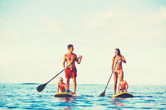 Family Fun, Stand Up Paddling Royalty Free Stock Photos