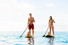 Family Fun, Stand Up Paddling Royalty Free Stock Images