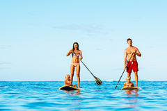 Family Fun, Stand Up Paddling Royalty Free Stock Photography