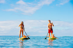 Family Fun, Stand Up Paddling Royalty Free Stock Photo