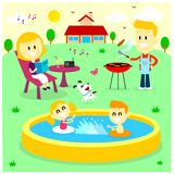 Family Fun Time at The Backyard House vector illustration