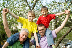 Family fun to play outdoors. Portrait of a happy family fun to play Royalty Free Stock Image