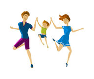 Family fun. Vector Illustration of happy man, woman and little boy jumping and waving their arms in joy. Royalty Free Stock Photography