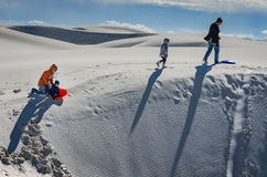 Family Fun - White Sands National Monument stock images