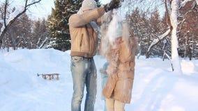 Family fun in a winter park stock video