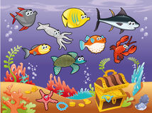 Family of funny fish under the sea. royalty free illustration