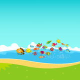 Family of funny fish under the sea Stock Images