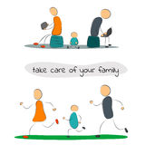 Family with gadgets and sport Stock Images