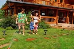 Family garden fun Stock Image
