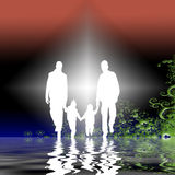 Family in garden graphic. Family silhouette in garden graphic illustration Royalty Free Stock Photography