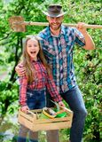 Family garden. Transplanting vegetables from nursery or gardening center. Maintain garden. Planting flowers. Family dad. And daughter planting plants. Plant stock photos