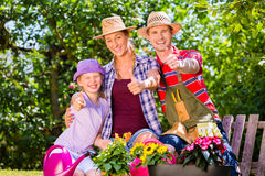 Family gardening in garden Royalty Free Stock Photos