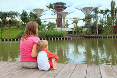 Family in gardens by the bay Royalty Free Stock Image