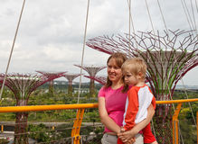 Family in gardens by the bay Royalty Free Stock Photos