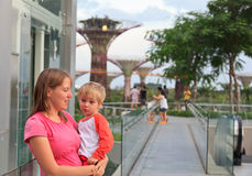 Family in gardens by the bay Stock Image