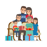 Family Gathered Together Holding Present Boxes Stock Images