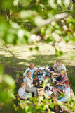 Family gathering. Family having snacks by table in natural environment Royalty Free Stock Photos