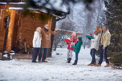 Family gathering together for Christmas eve. At home Royalty Free Stock Images