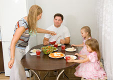 Family gathers for dinner Stock Photos