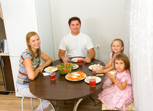 Family gathers for dinner Royalty Free Stock Photography