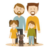 A family of 2 gay men adopting children. A family of 2 gay men adopting children, vector illustration Stock Image