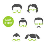Family Of Geeks. Various people in glasses, vector illustration stock illustration