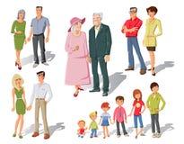Family Generations Cartoon Set Royalty Free Stock Photography