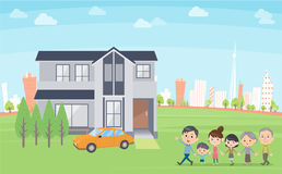 Family 3 generations house tour In the city. Design template illustration Royalty Free Stock Image