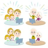 Family 3 generations internet communication White_Remote Royalty Free Stock Image
