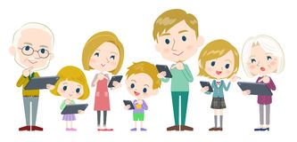 Family 3 generations internet communication White_side by side Royalty Free Stock Images