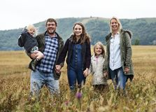 Family Generations Parenting Togetherness Field Nature Concept stock photography