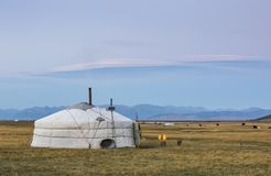 Family ger in a landscape of norther Mongolia. Mongolian family ger in a landscape of northern Mongolia Stock Photography