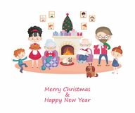 Family getting ready for Christmas royalty free illustration