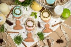 Family gift easter egg honey-cakes, gingerbread, celebration spring design Stock Images