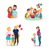 Family Gift Giving Set. Gift giving family flat characters collection with married couple group of friends kids mother and son vector illustration Royalty Free Stock Photography