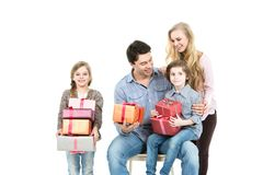 Family with gifts. Stock Images
